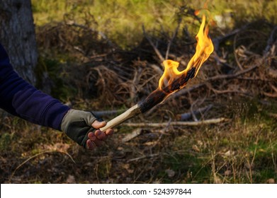 part of a man and hand with torch flame in wild nature background.
