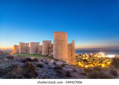 Part of medieval wall of Alcazaba on the hill, Almeria, Andalusia, Spaim