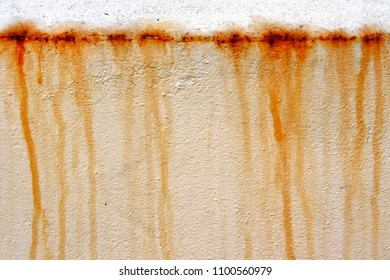 Part of a metal surface with rusting water marks