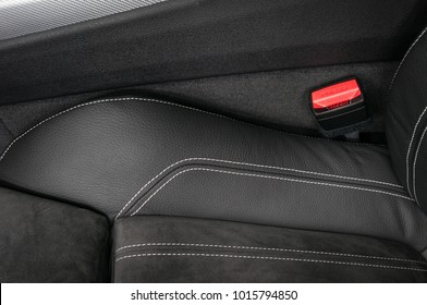 Part of modern car leather seat. Interior detail.