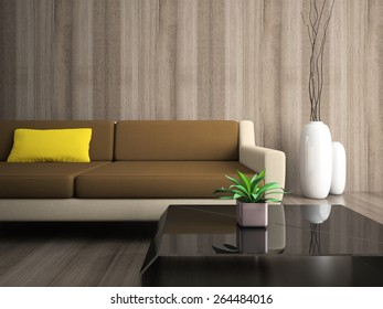 Part of modern interior with yellow pillow
