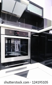 part of the modern kitchen with electric stove