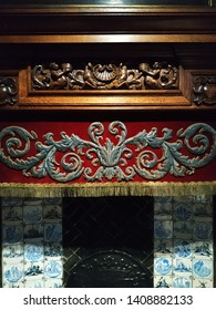 Part of the mosaic, woodcarving and stucco work on the fireplace at Rubens ' house museum in Antwerp, January 2019.