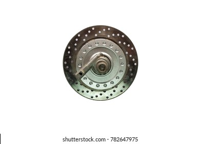Part of motorbike wheel - Disc brake isolated on white background