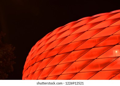 part of Munich's Allianz Arena in red color