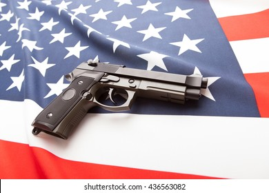 Part of national flag with hand gun over it series - United States