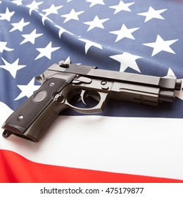Part of national flags with hand gun over it series - United States of America