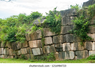 Part of the north wall of the Ho Citadel, Thanh Hoa Province, Vietnam. The citadel became a UNESCO World Heritage Site in 2011.