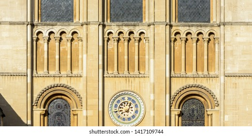 Part of Norwich Cathedral, Arches and Clock, Central view winter 2019