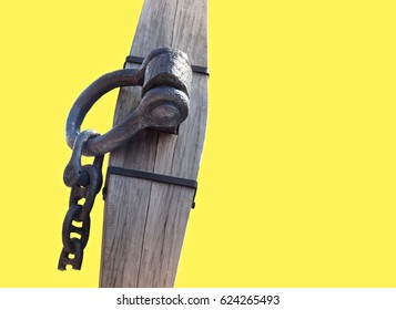 Part Of Old Anchor Isolated ON Yellow Background