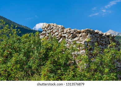 part of an old and ancient stone wall in forest thickets and against the background of the sky