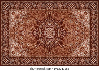 Part of Old Brown Persian Carpet Texture, abstract ornament