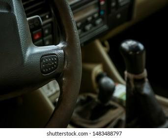Part of the old car interior. Retro car concept.