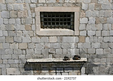part of the old city wall in Dubrovnik, Croatia