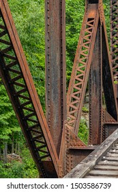 Part of an old, iron trestle running to nowhere in New Hampshire