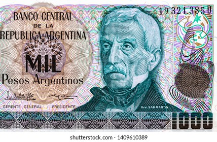 Part of old pesos Argentina.1000 Argentinian peso bank note. Argentinian peso is the national currency of Argentina. Close Up UNC Uncirculated - Collection.