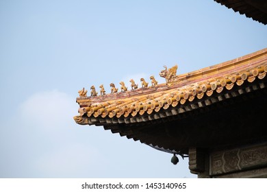 The part of old style Chinese eaves in a temple.
