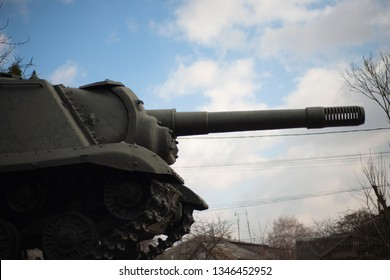 Part of the old tank (panzer) on the sky background.