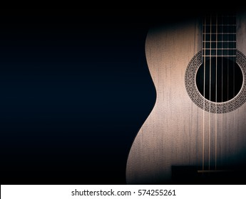 Part of a orange acoustic guitar on black background.