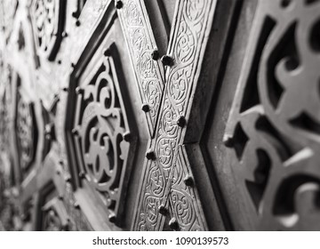Part of the ornaments of the bronze-plate door of Sultan Qalawun mosque, al Moez street, Old Cairo, Egypt
