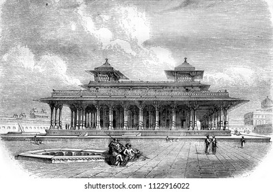A part of the Palace, in the fort of Allahabad, vintage engraved illustration. Magasin Pittoresque 1858.