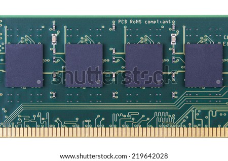 Part of PC memory module. Closeup. Isolated on white background.