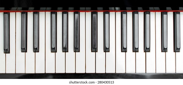Part of piano keys. Top view.