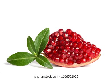 Part of a pomegranate with leaves isolated on white background