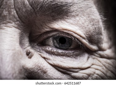 Part of portrait of elderly woman. Eyes. Toned.