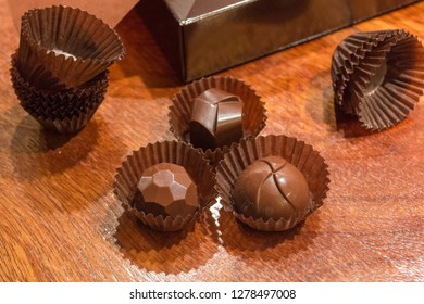 Part of the process of making homemade artisan chocolate sweets with different fillings for a special ocassion: valentine's day, a birthday or anniversary gift or the perfect souvenir