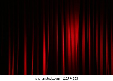 Part of a red curtain.