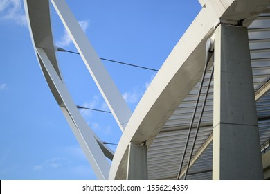 Part of the reinforced concrete structure of a sports stadium.