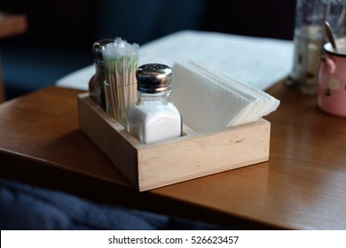 Part of restaurant table setting salt pepper toothpicks and paper napkins in wooden box & Restaurant Table Setting Images Stock Photos \u0026 Vectors | Shutterstock