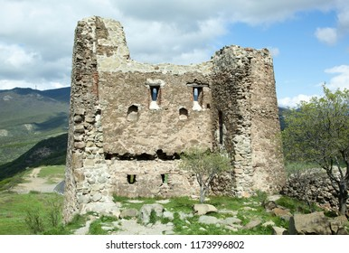 The part of ruins of otherwise still functioning Jvary Monastery that was built in 6th century (Mtskheta, Georgia).