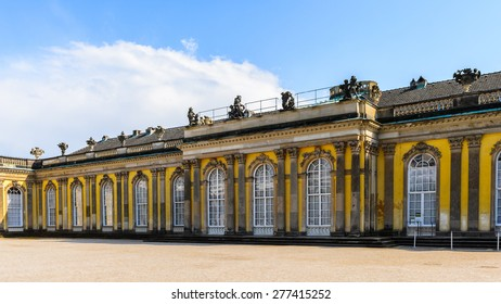 Part of the Sanssouci Palace, the former summer palace of Frederick the Great, King of Prussia, in Potsdam, near Berlin