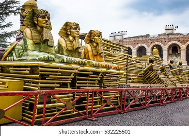 A part of the scenography for spectacle of Verdi's Aida during The Arena di Verona Opera Festival. Arena di Verona in the background.