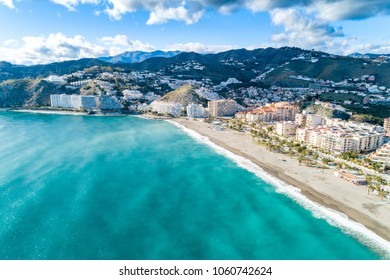 Part of a set of aerial views of a mediterranean spanish beach (San Cristobal beach) at Almunecar, Granada, Spain