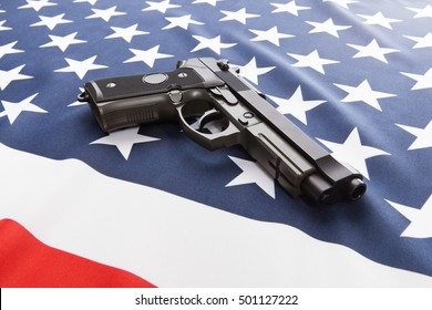 Part of silk national flag with hand gun over it series - United States of America