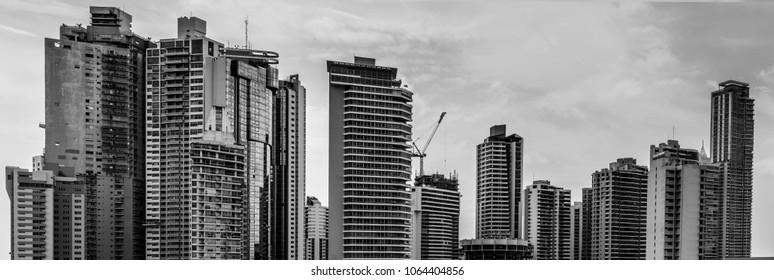 A part of a skyline of Panama City. Black-White version.
