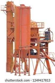 part of small new concrete mixing plants on white background
