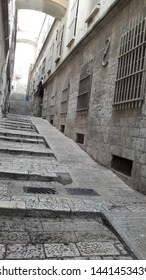 Part of street at Jerusalem old city via Dolorosa which provided both ladder and slope in Israel