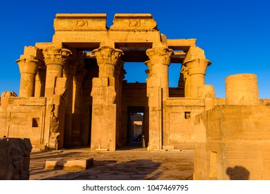 Part of the Temple of Kom Ombo dedicated to the crocodile god Sobek and the falcon god Haroeris, sundown, Egypt.