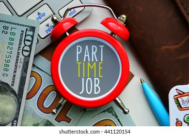 Part time job. Sign on red clocks with cash.