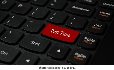 Part time text written on a keyboard