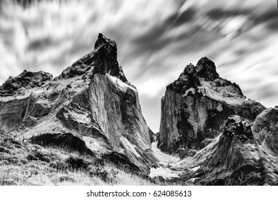 Part of the Torres del Paine cordillera in Chile's most famous national park in Patagonia region of South America.  In black and white.