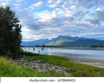 Part of Traboulay PoCo Trail in Port Coquitlam, BC, Canada with view of a sky, field,  mountains and Pitt River