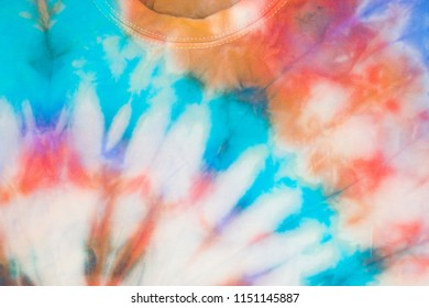 Part of a t-shirt with a tie-dye design