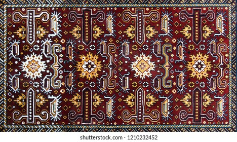 The part of turkish-azerbaijan  carpet. Textures and traditional motifs, vintage textures