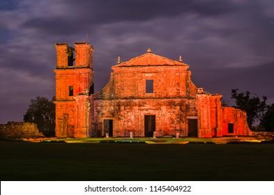 Part of the UNESCO site - Jesuit Missions of the Guaranis: Church, Ruins of Sao Miguel das Missoe, Rio Grande do Sul, Brazil.
