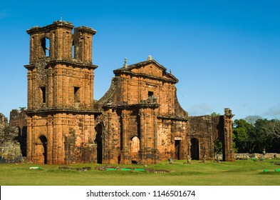 Part of the UNESCO site - Jesuit Missions of the Guaranis: Church, Ruins of Sao Miguel das Missoe, Rio Grande do Sul, Brazil.